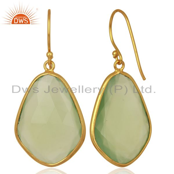 Suppliers Dyed Aqua Chalcedony Sterling Silver 18K Gold Plated  Bezel Set Dangle Earrings