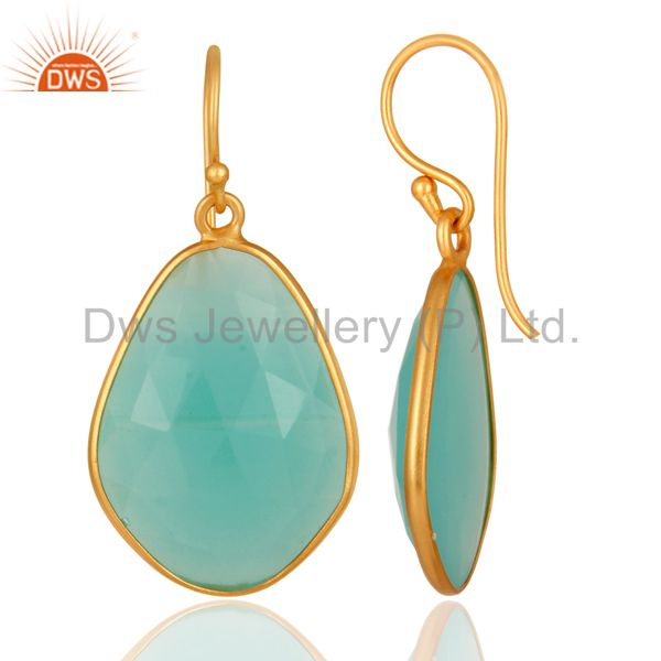 Suppliers 18K Gold Plated Sterling Silver Bezel Set Created Aqua Blue Chalcedony Earrings