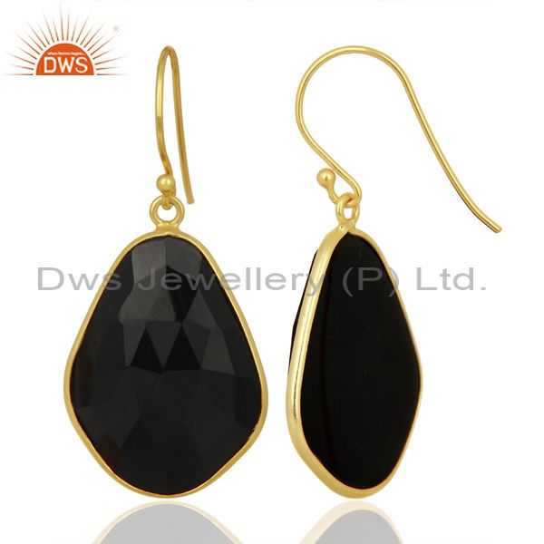 Suppliers Black Onyx Large Single Drop Gold Plated 92.5 Sterling Silver Earring