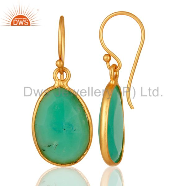 Suppliers Handmade Sterling Silver With Gold Plated Chrysoprase Bezel Gemstone Earrings