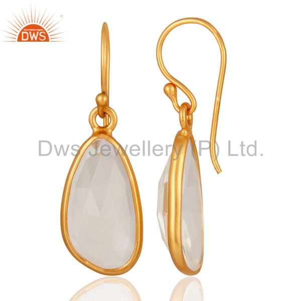 Suppliers Sterling Silver Natural Crystal Quartz Hook Bezel Set Earrings With Gold Plated