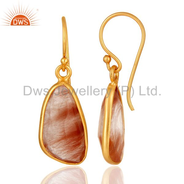 Suppliers Handmade 925 Sterling Silver Golden Rutilated Quartz Earrings With Gold Plated