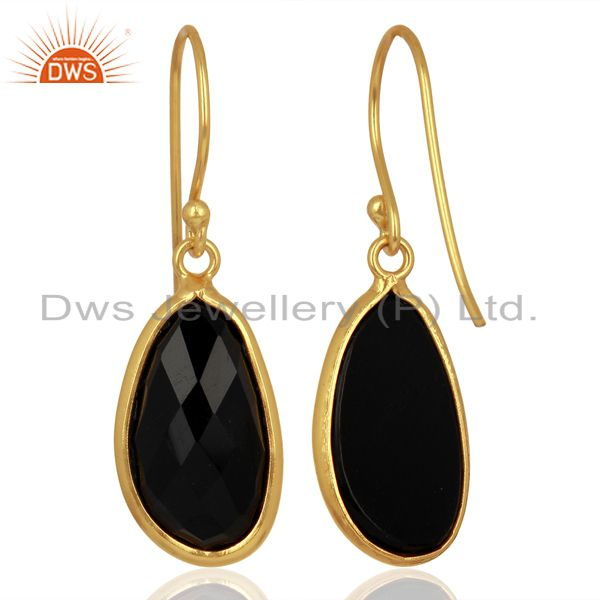 Suppliers Black Onyx Handcrafted Artisan Drop Gold Plated Sterling Silver Jewelry