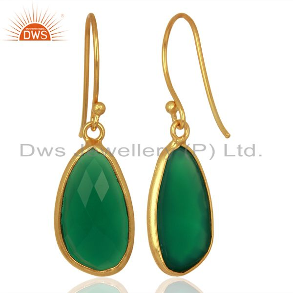Suppliers Green Onyx Handcrafted Artisan Drop Gold Plated Sterling Silver Jewelry