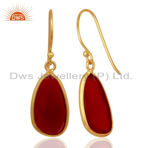 Suppliers Red Onyx Handcrafted Artisan Drop Gold Plated Sterling Silver Jewelry