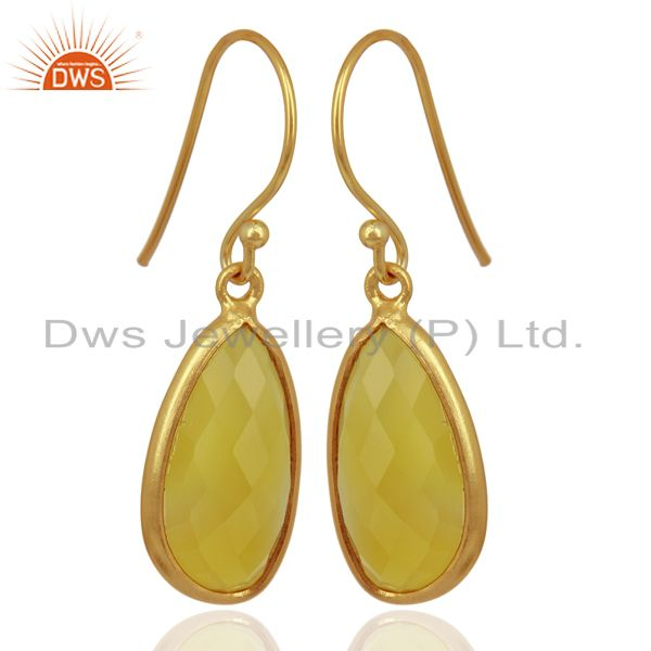 Suppliers Yellow Chalcedony Handcrafted Artisan Drop Gold Plated Sterling Silver Jewelry