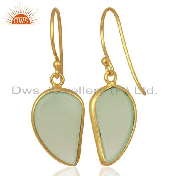 Suppliers Aqua Chalcedony Handcrafted Artisan Abstract Gold Plated Drop Wholesale Earrings