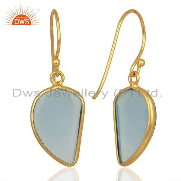 Suppliers Blue Chalcedony Handcrafted Artisan Abstract Gold Plated Drop Wholesale Earrings