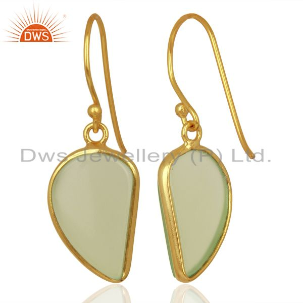 Suppliers Prehnite ChalcedHandcrafted Artisan Abstract Gold Plated Drop Earrings