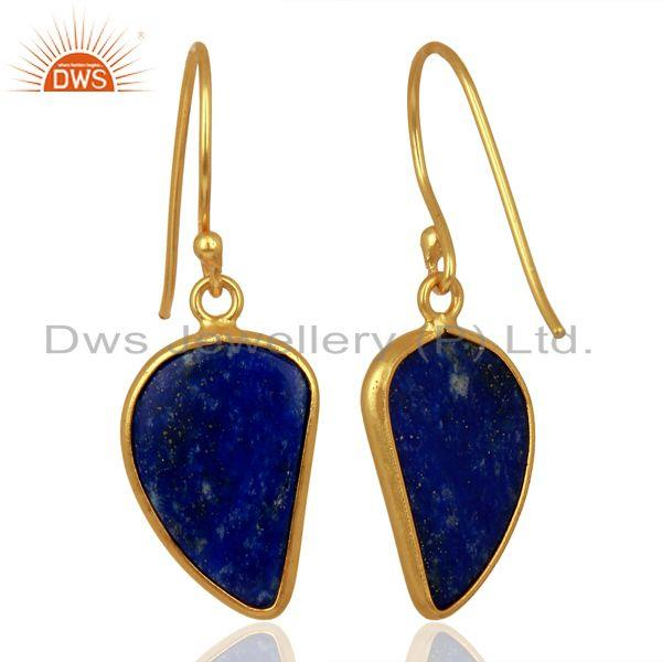 Suppliers Lapis Handcrafted Artisan Abstract Gold Plated Drop Wholesale Earrings