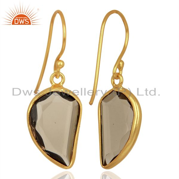 Suppliers Smoky Topaz Handcrafted Artisan Abstract Gold Plated Drop Wholesale Earrings
