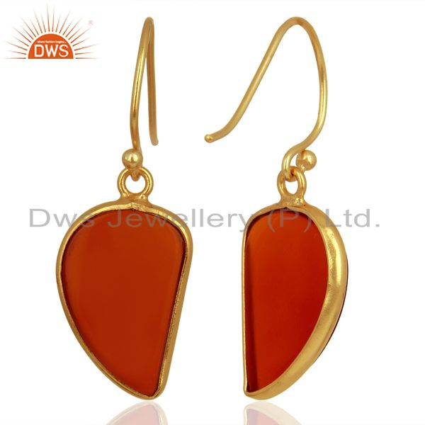 Suppliers Red Onyx Handcrafted Artisan Abstract Gold Plated Drop Wholesale Earrings
