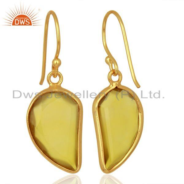 Suppliers Yellow ChalcedonyHandcrafted Artisan Abstract Gold Plated Drop Wholesale Earring