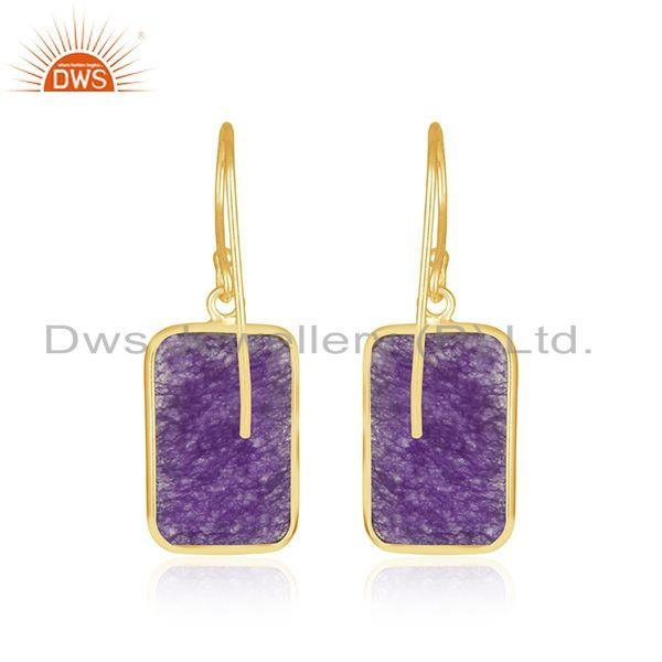 Suppliers Amethyst Aventurine Gemstone Gold Plated 925 Silver Earrings Suppiler