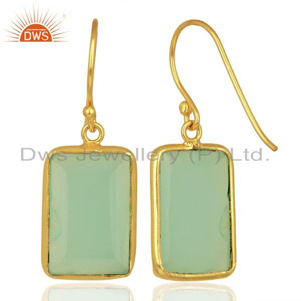 Suppliers Aqua Chalcedony Gemstone Sterling Silver Gold Plated Earrings Jewelry