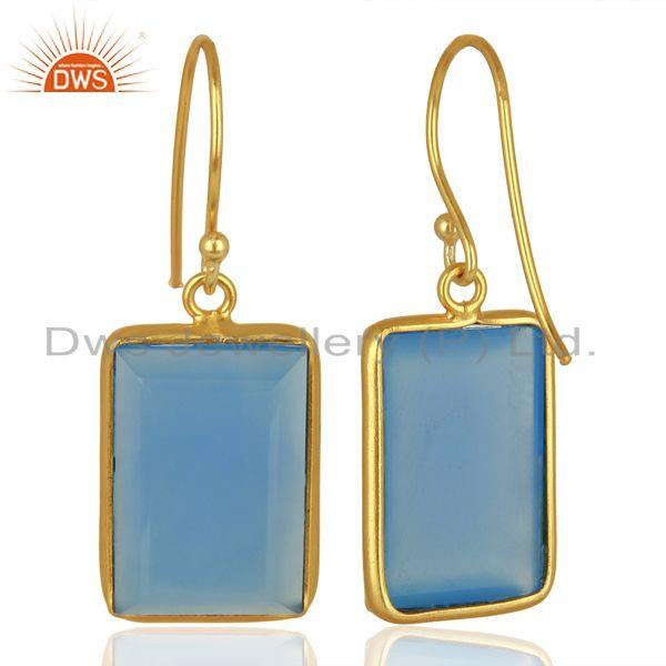 Suppliers Blue Chalcedony Gemstone Gold Plated Silver Womens Earrings