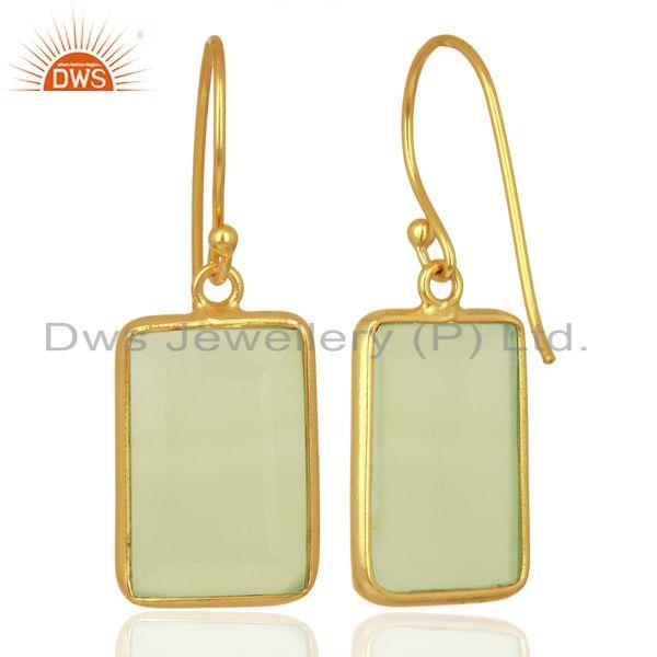 Suppliers Prehnite Chalcedony Handcrafted Artisan Gold Plated Drop Wholesale Jewelry