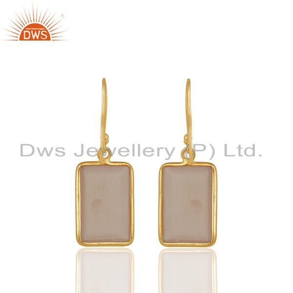 Suppliers Rose Chalcedony Gemstone 925 silver Stud Earrings Manufacturers