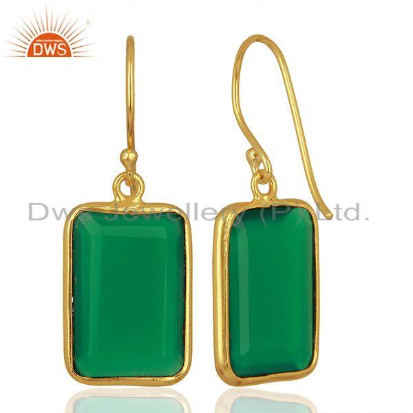 Suppliers Natural Green Onyx Gemstone Gold Plated 925 Silver Earrings Supplier