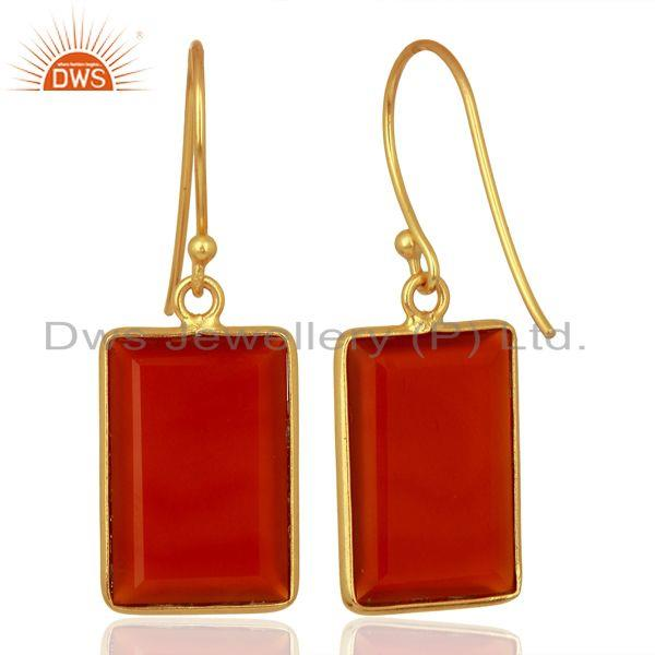 Suppliers Red Onyx Handcrafted Artisan Gold Plated Drop Wholesale Jewelry