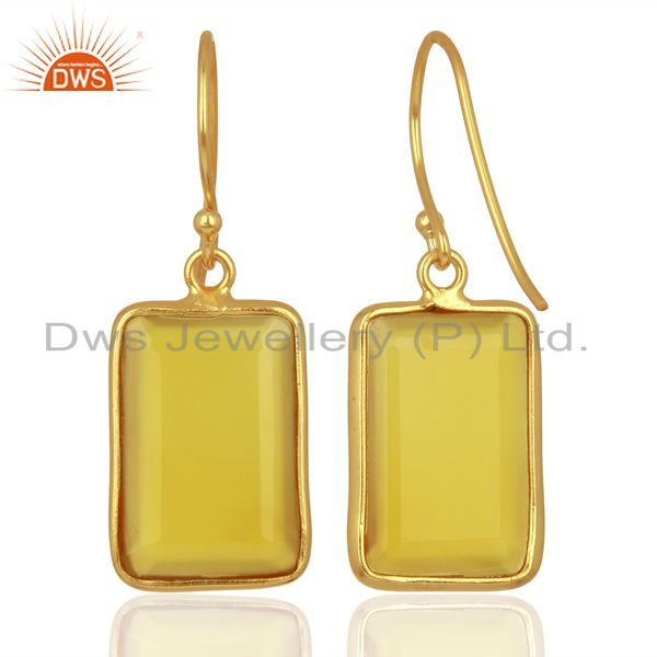 Suppliers Yellow Chalcedony Handcrafted Artisan Gold Plated Drop Wholesale Jewelry