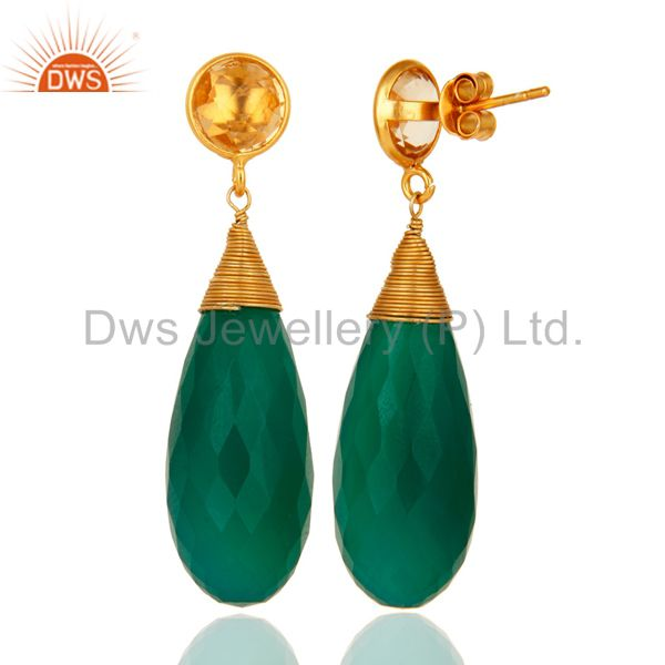 Suppliers Natural Green Onyx Gemstone Sterling Silver Wire Wrapped Briolette Drop Earrings