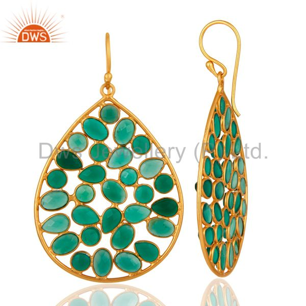 Suppliers Handmade 925 Sterling Silver Designer Gold Plated Green Onyx Gemstone Earrings