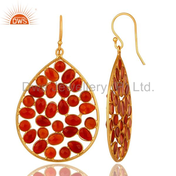 Suppliers 14K Yellow Gold Plated Sterling Silver Red Onyx Designer Drop Dangle Earrings