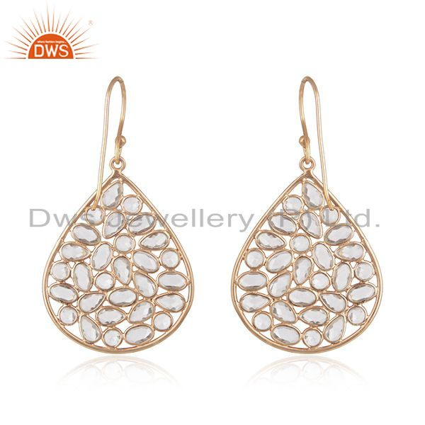 Suppliers 18K Rose Gold Plated Sterling Silver White Cubic Zirconia Fashion Dangle Earring