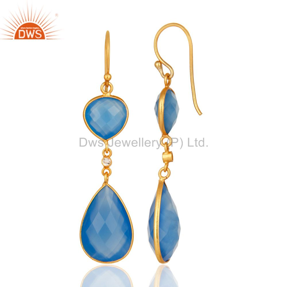 Suppliers Faceted Blue Chalcedony Gemstone 925 Sterling Silver Earrings With Gold Plated
