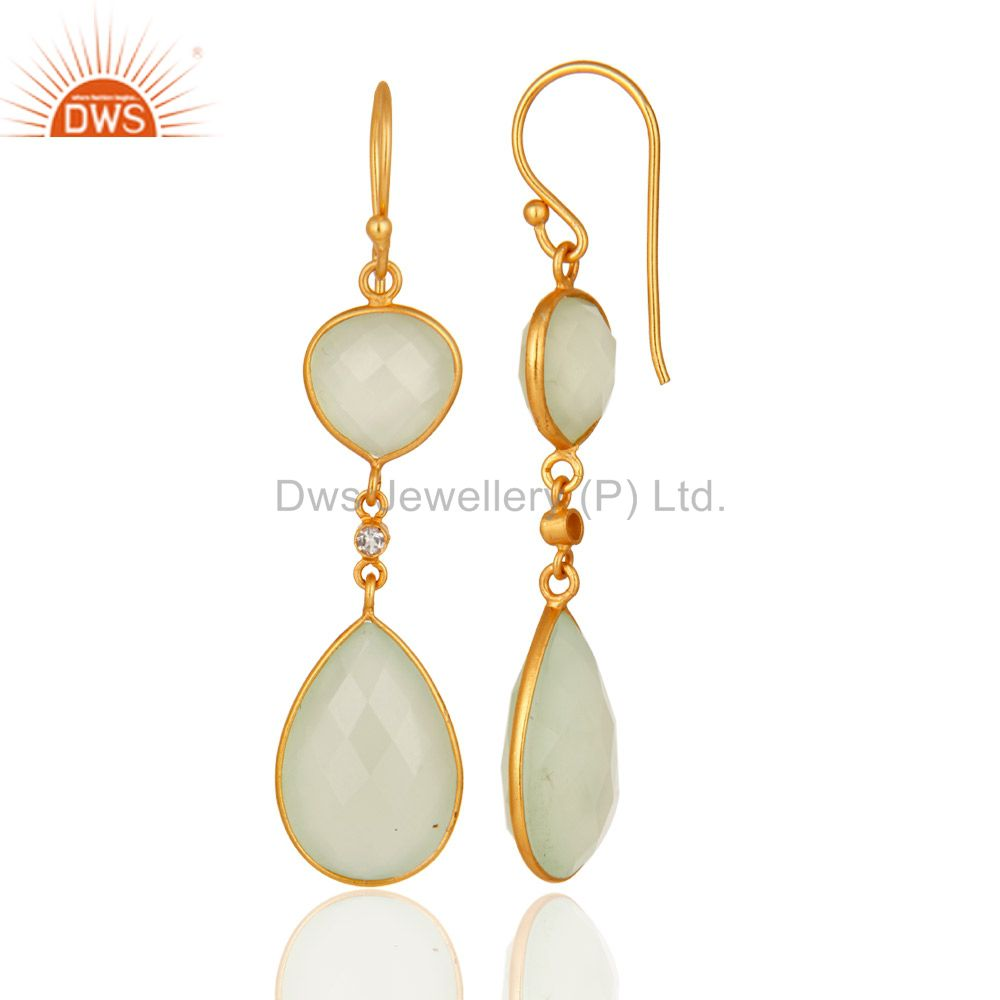 Suppliers Faceted Prehnite Green Chalcedony Gold Plated Sterling Silver Dangle Earrings