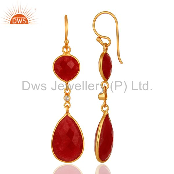 Suppliers 22K Gold Plated Sterling Silver Handmade Red Aventurine Bezel Dangle Earrings