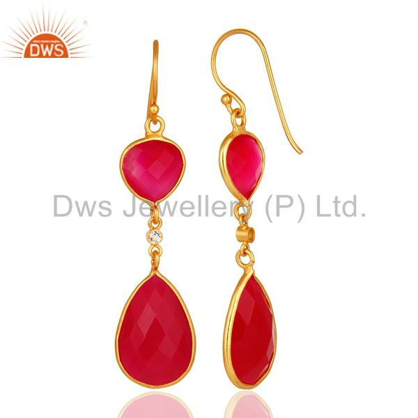 Suppliers Pink Chalcedony Faceted Bezel-Set Gold Plated Sterling Silver Drop Earrings