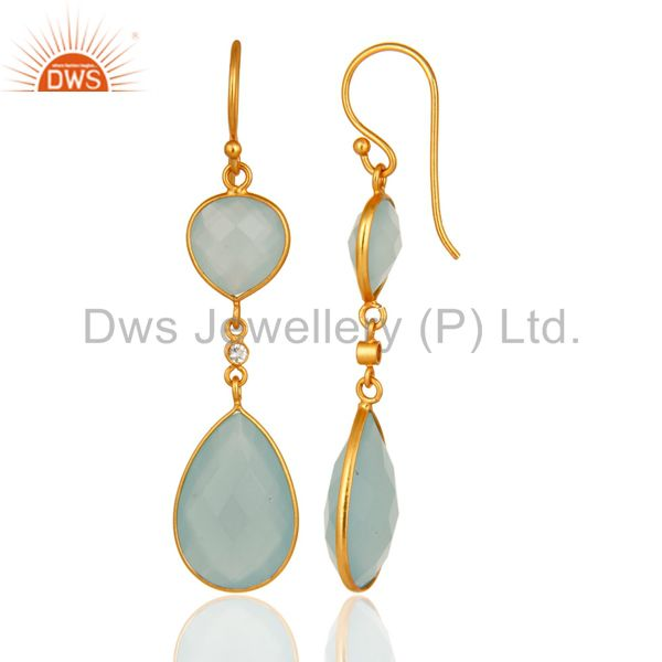 Suppliers Artisan-Crafted Sterling Silver Gold Plated Dyed Blue Chalcedony Drop Earrings