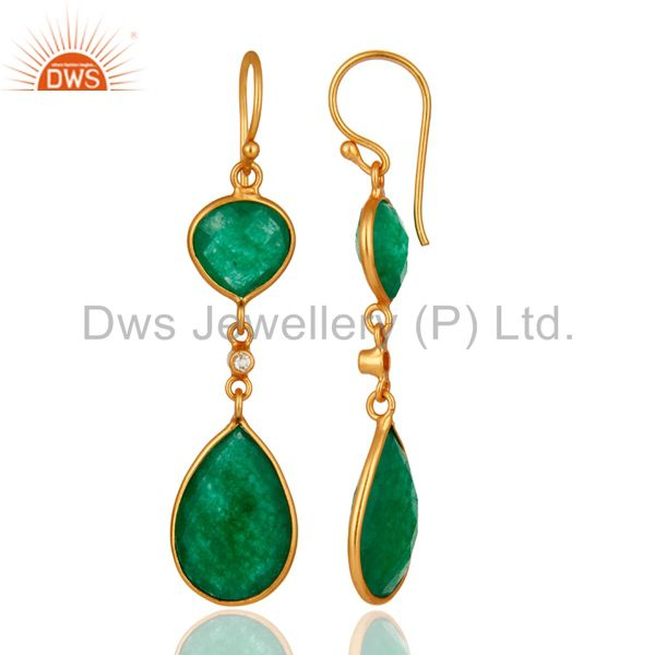 Suppliers 18K Yellow Gold Plated Sterling Silver Green Aventurine Double Drop Earrings