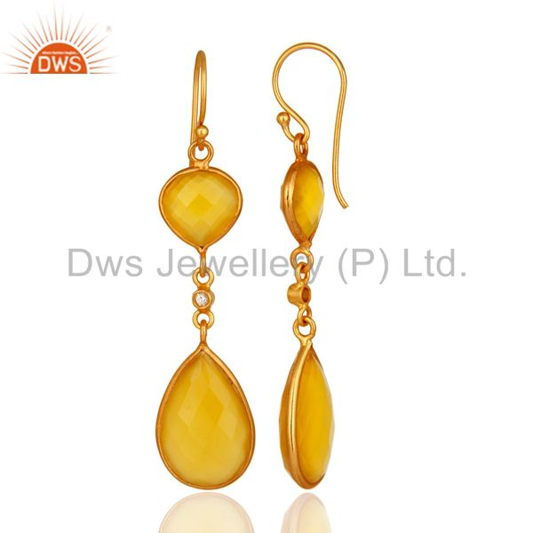 Suppliers 18K Gold Plated Sterling Silver Yellow Moonstone Double Drop Dangle Earrings