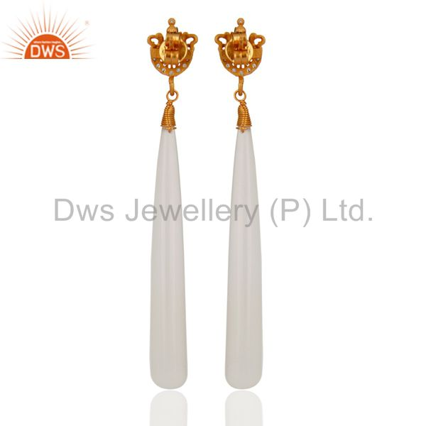 Suppliers Sterling Silver 925 White Chalcedony Gemstone Smooth Drop Dangle Earrings