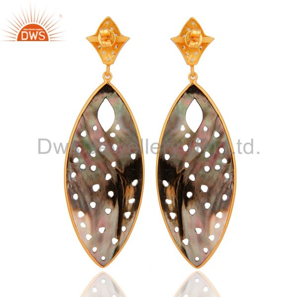 Suppliers Handmade Abalone Shell Carved 18K Gold Over Sterling Silver Gemstone Earrings