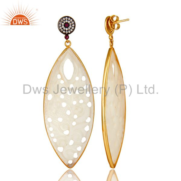 Suppliers 18K Yellow Gold Plated Sterling Silver Carved Mother Of Pearl Dangle Earrings