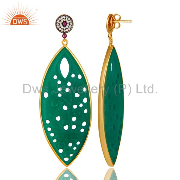 Suppliers 14K Yellow Gold Plated Sterling Silver Carved Green Onyx Dangle Earrings With CZ