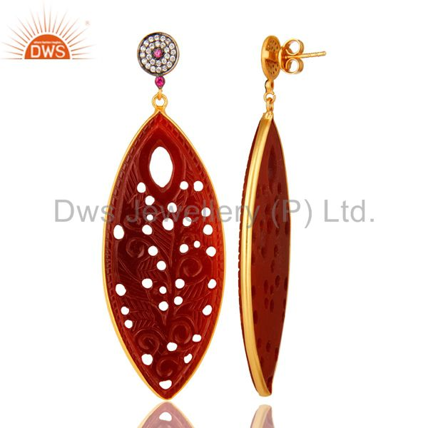 Suppliers 18K Gold On Silver CZ And Red Onyx Gemstone Carving Bezel Set Dangle Earrings