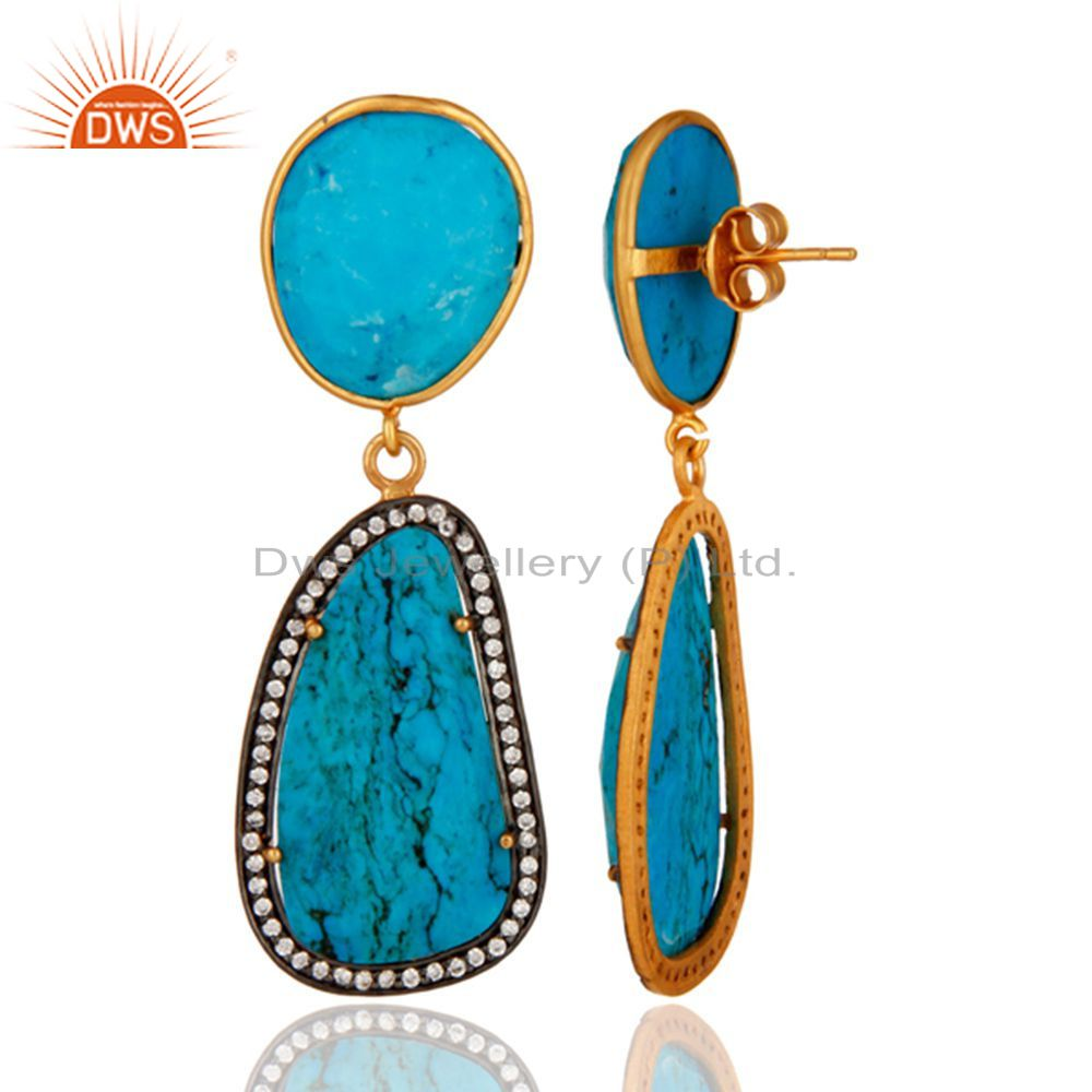 Suppliers 18K Gold Plated Solid Sterling Silver Turquoise & White Zircon Beautiful Earring