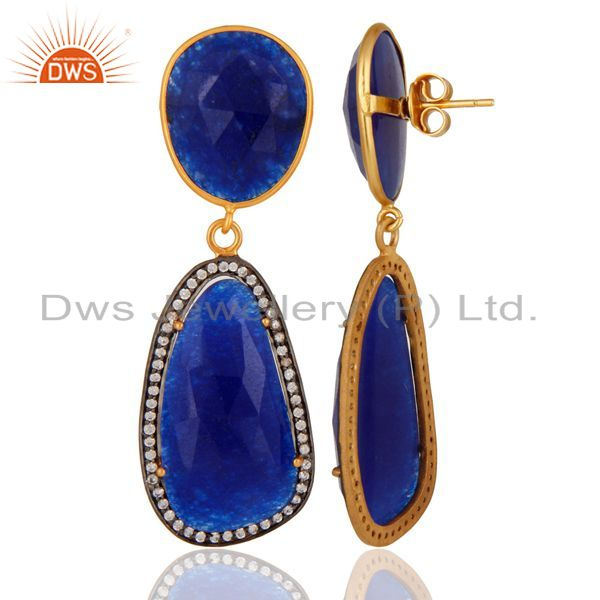 Suppliers Natural Blue Aventurine Gemstone 925 Sterling Silver Fancy Shape Earring With CZ