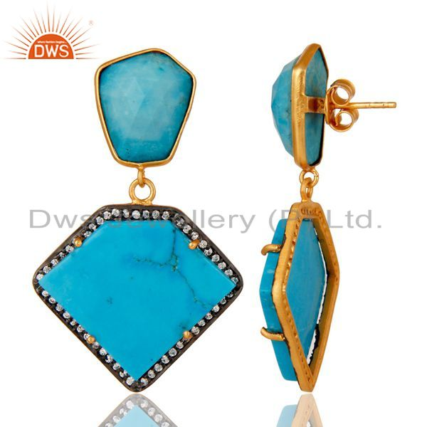 Suppliers Cultured Turquoise Cubic Zirconia 18K Gold Plated 925 Sterling Silver Earrings