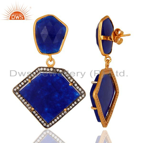 Suppliers Blue Aventurine And Cubic Zirconia 18K Gold Plated 925 Sterling Silver Earrings