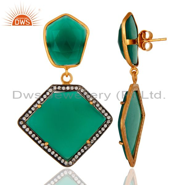 Suppliers 18K Gold Plated Sterling Silver Green Onyx Gemstone Earring With White Zircon