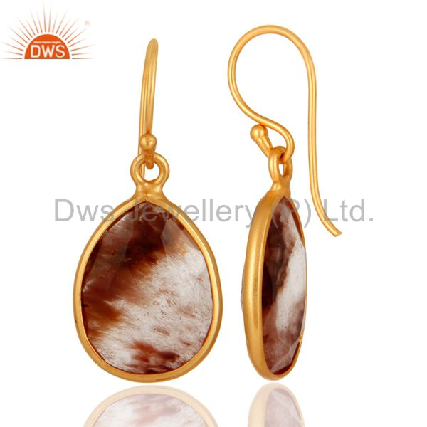 Suppliers 18K Yellow Gold Plated Sterling Silver Golden Rutilated Quartz Earrings