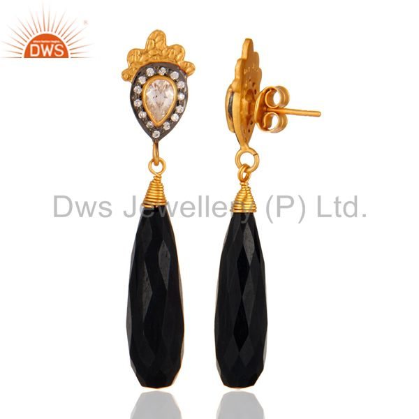 Suppliers Black Tiger Eye and Cubic Zirconia 18K Gold Plated Sterling Silver Earring
