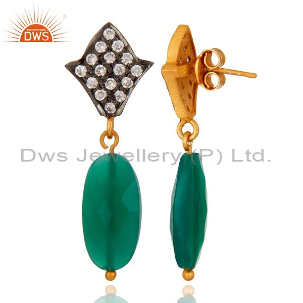 Suppliers Handmade 925 Sterling Silver Green Onyx & 24K Gold Plated Drop Earrings With CZ