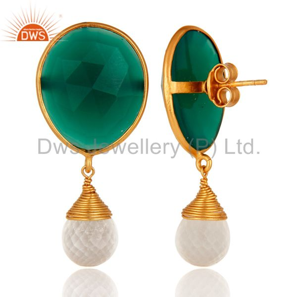 Suppliers 22K Yellow Gold Plated Sterling Silver Green Onyx & Crystal Quartz Drop Earrings